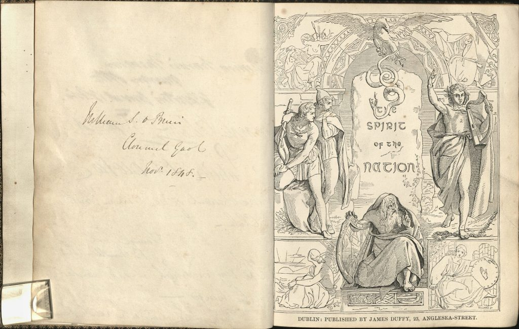 Image of Burton's illustration design for The Spirit of the Nation (1845), with tipped in inscription by Willliam S. O'Brien, Clomel Gaol, November 1848