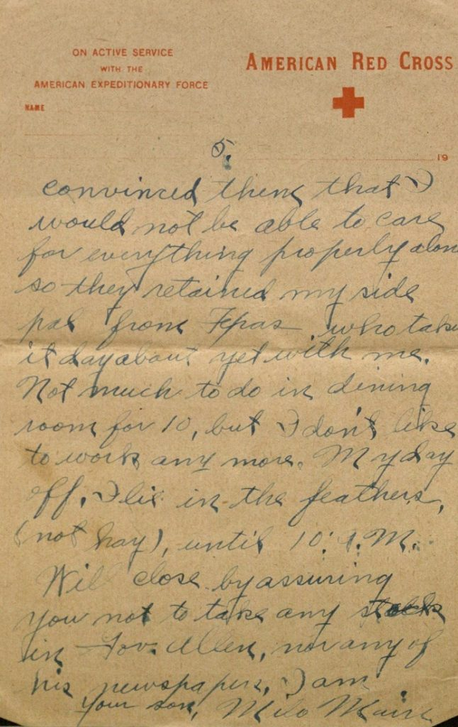 Image of Milo H. Main's letter to his family, March 16, 1919