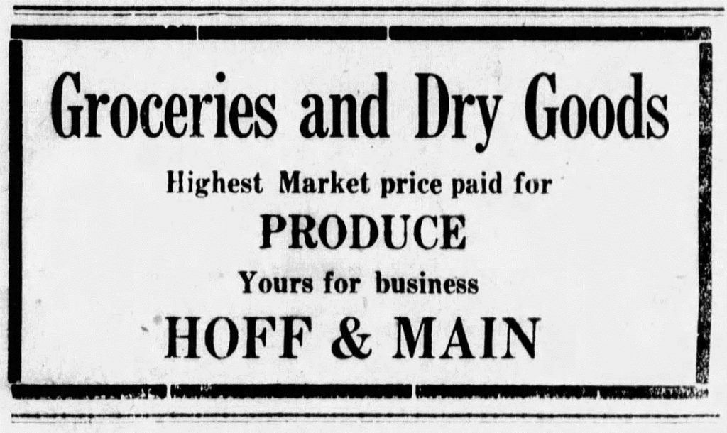 Hoff & Main advertisement in the Argonia Argosy newspaper, August 28, 1919