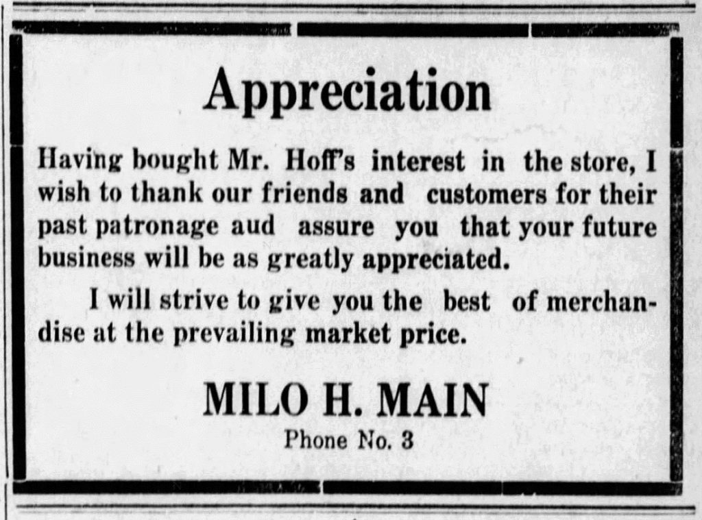 Milo Main advertisement in the Argonia Argosy newspaper, August 10, 1922