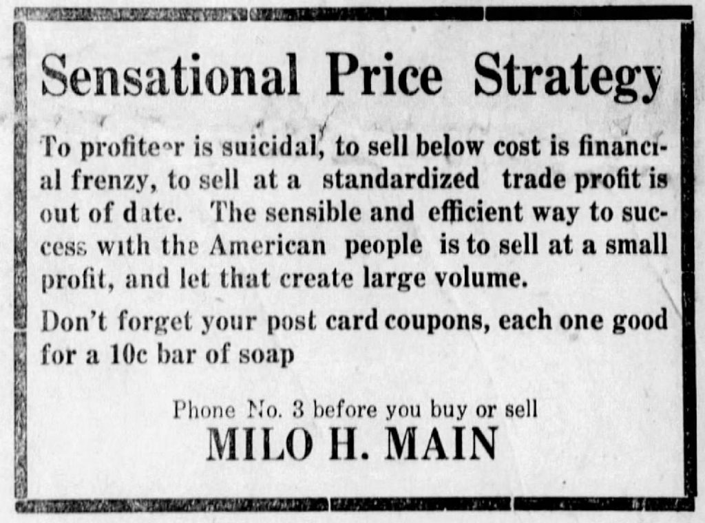 Milo Main advertisement in the Argonia Argosy newspaper, November 16, 1922
