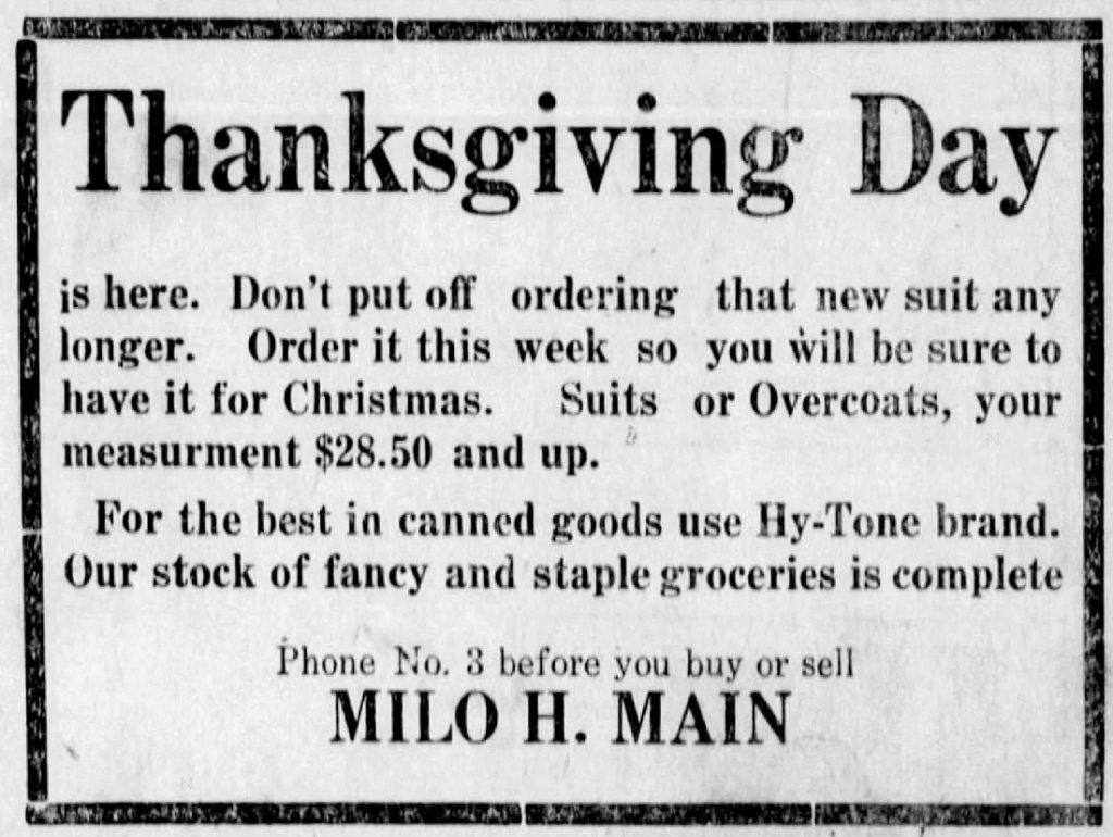 Milo Main advertisement in the Argonia Argosy newspaper, November 30, 1922