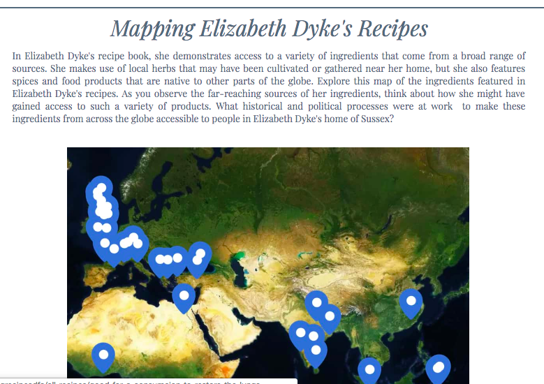 "Screenshot of ""Mapping Elizabeth Dyke's Recipes"" site."