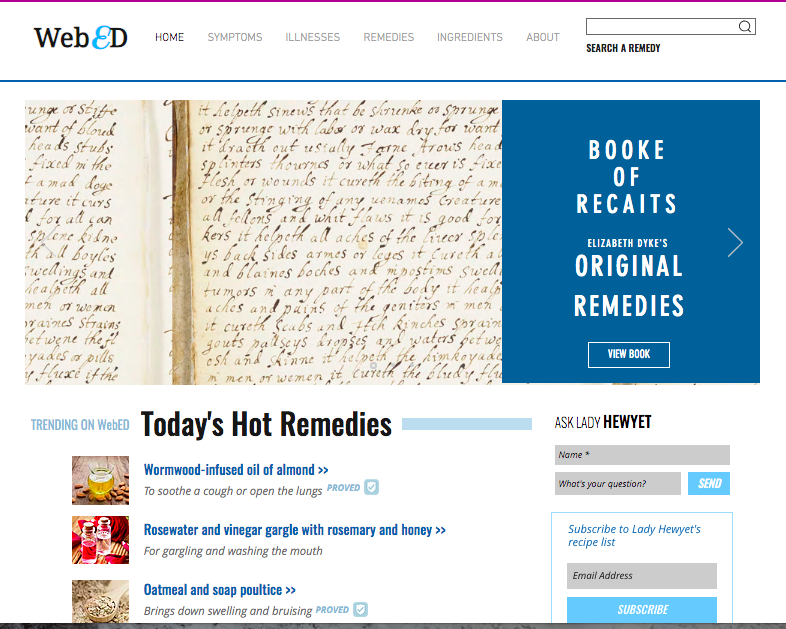 Screenshot of WebEd, a crowd-sourced ailments and remedies platform modeled on WebMD.