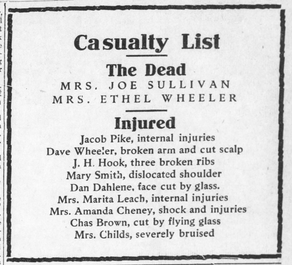 Image of the tornado casualty list, Lawrence Daily Journal-World, April 13, 1911