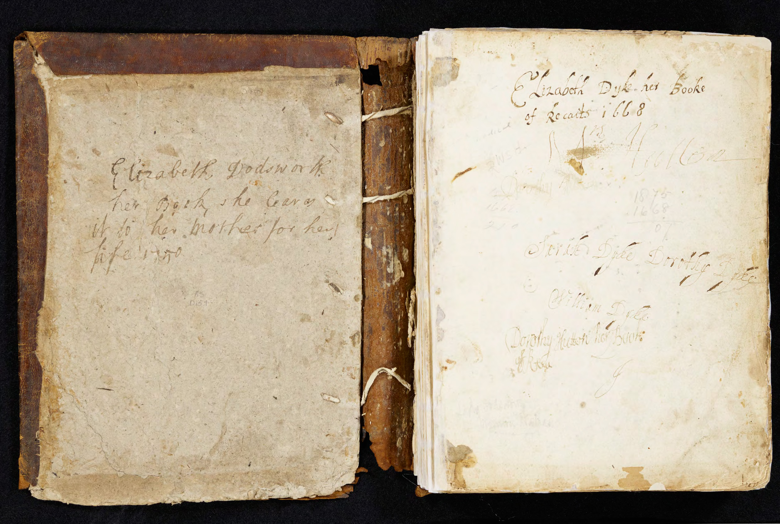 "Image of ownership inscriptions in the front board and first page of ""Elizabeth Dyke, her Booke of Recaits 1668"" (MS D157)"