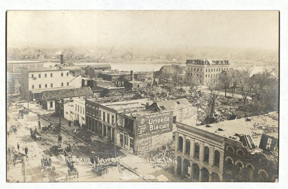 Photograph of Massachusetts Street looking northeast after the tornado, April 13, 1911