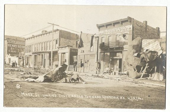 Photograph of Massachusetts Street looking south after the tornado, April 13, 1911