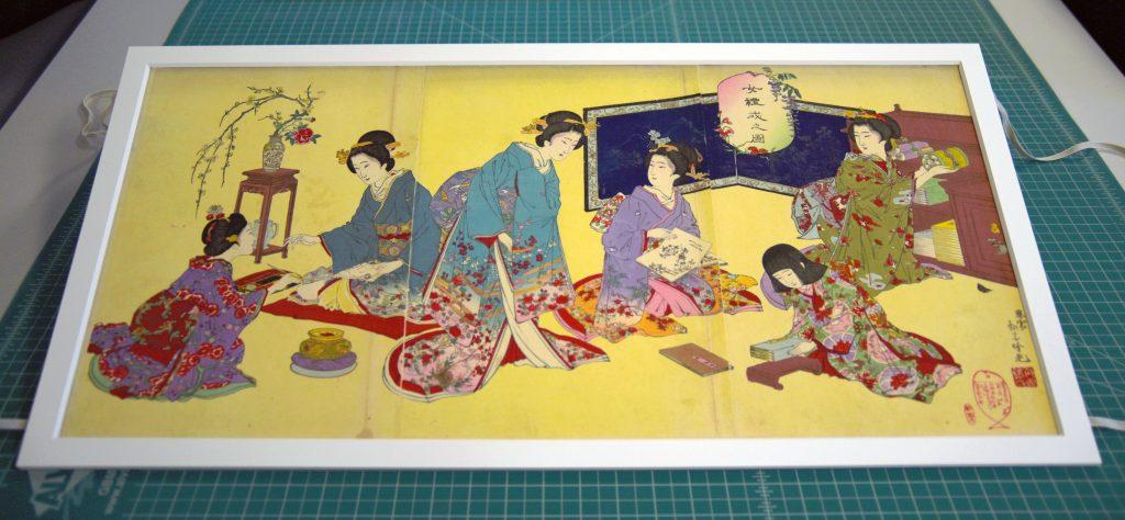 Adachi Ginkō, Joreishiki no zu, 1889. Japanese triptych woodblock print.