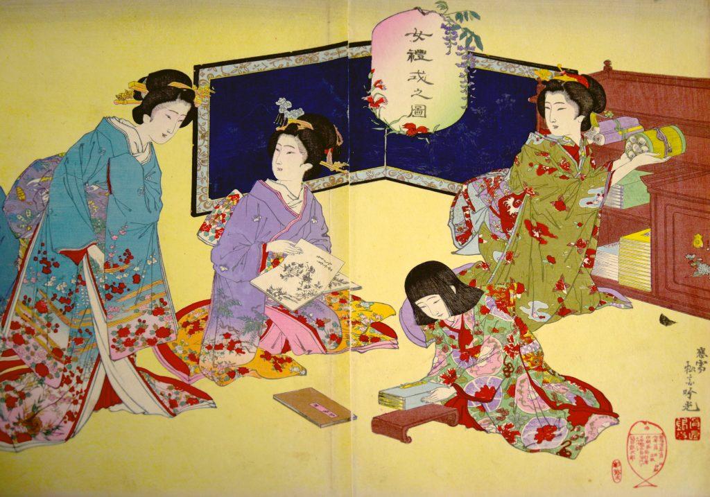 Detail of triptych woodblock print by Adachi Ginkō, Joreishiki no zu, 1889.