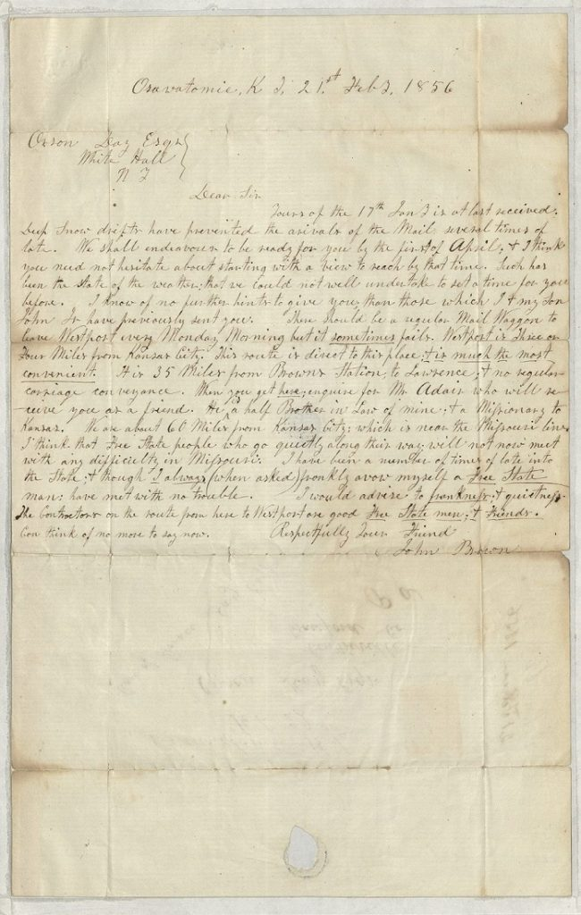 Image of a letter from John Brown to Orson Day, February 21, 1856