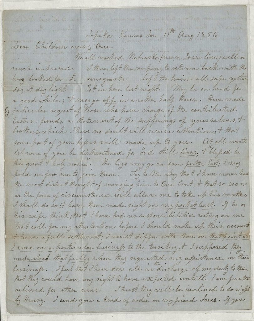 Image of a letter from John Brown to his children, August 11, 1856