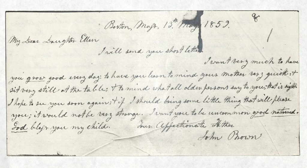 Image of a letter from John Brown to his daughter Ellen, May 13, 1859