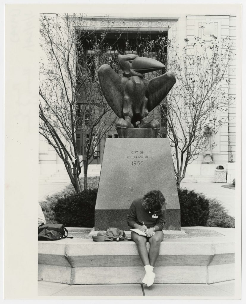 Photograph of a KU student studying in front of the Jayhawk statue in front of Strong Hall, 1984