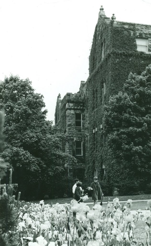 Photograph of KU students walking through campus, 1970s