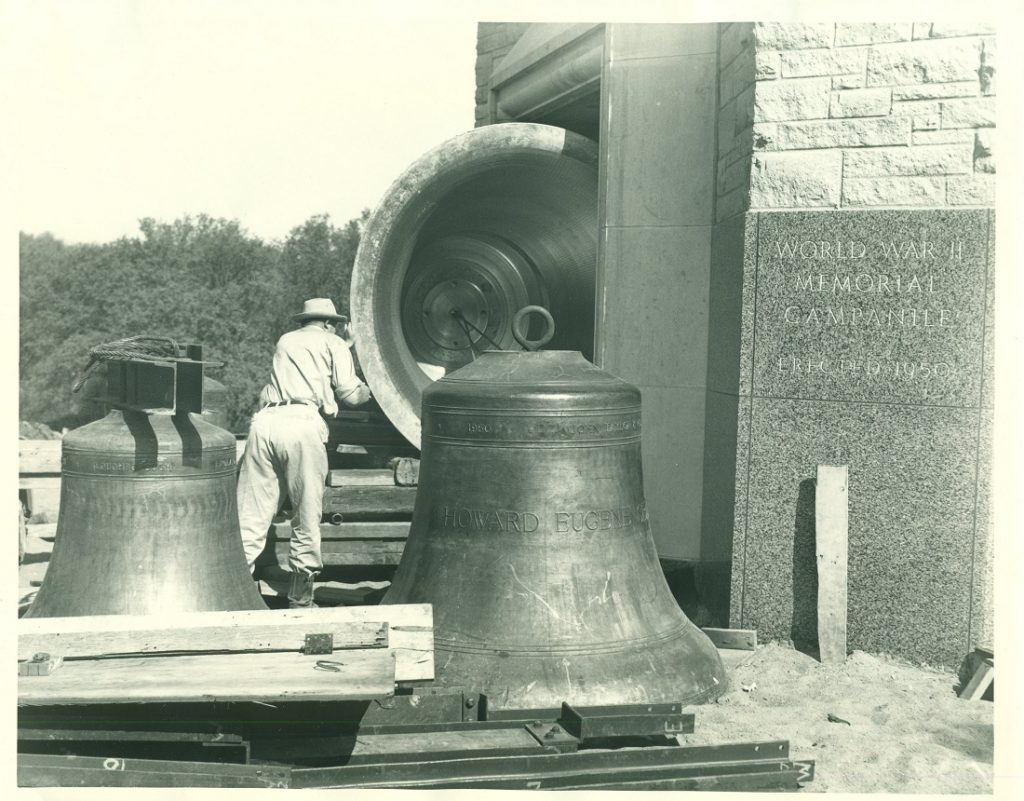 Photograph of bells being installed in the World War II Memorial Campanile, 1951