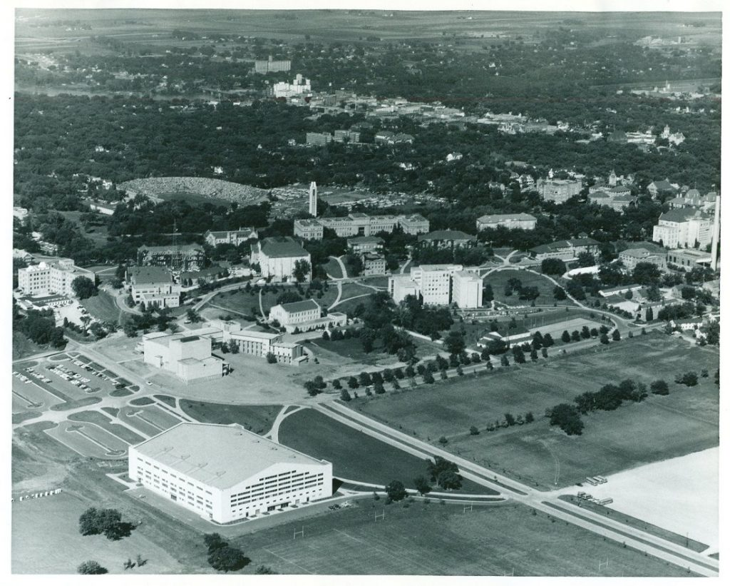 Aerial photograph of the KU campus looking northeast, 1955