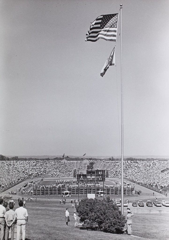 Photograph of an American flag flying over Memorial Stadium, 1969