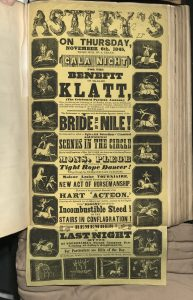 "Poster for ""Astley's on Thursday, November 6, 1845 ...Gala Night,"" with pictures of show riding along the exterior of the poster in Astley's Amphitheatre scrapbook, volume 3, p. 237"