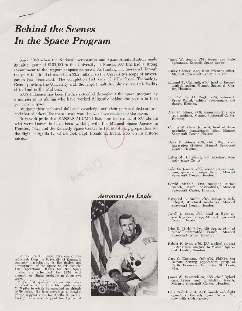 "An article entitled ""Behind the Scenes in the Space Program,"" Kansas Alumni, March 1973"