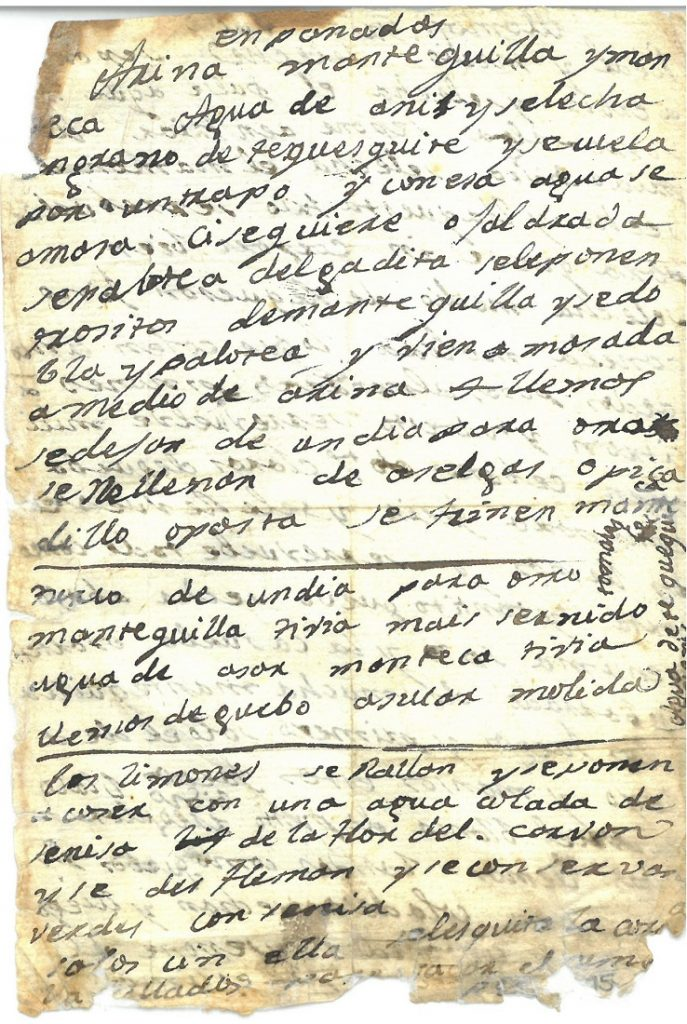 "A recipe for ""enpanadas"" from an early 19th century set of recipes from Mexico"