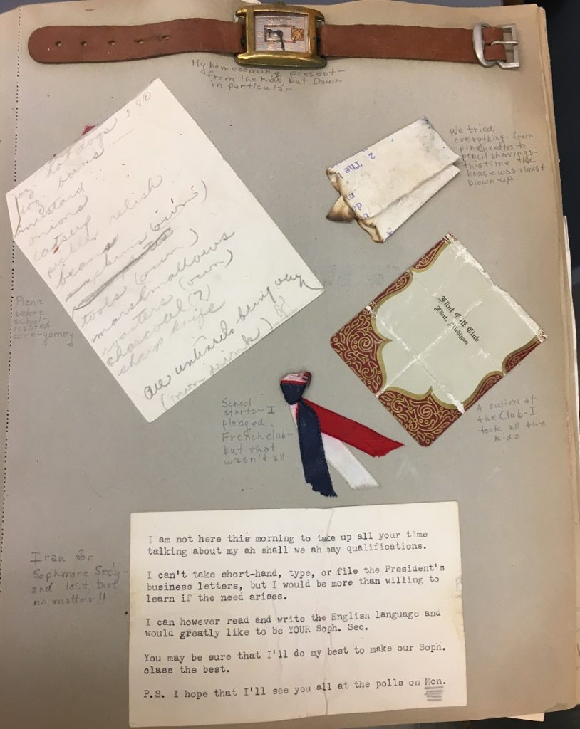 Photograph of a page from one of Elizabeth Schultz's school scrapbooks
