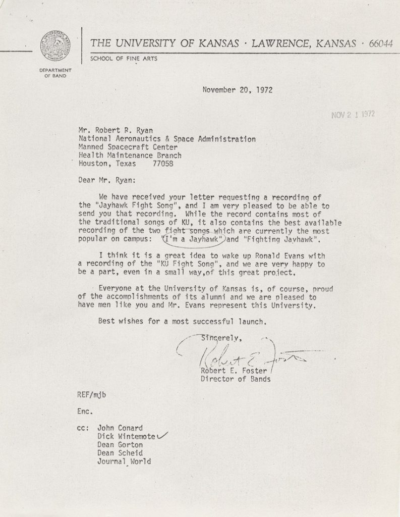 A letter from Robert E. Foster to Robert P. Ryan, 1972