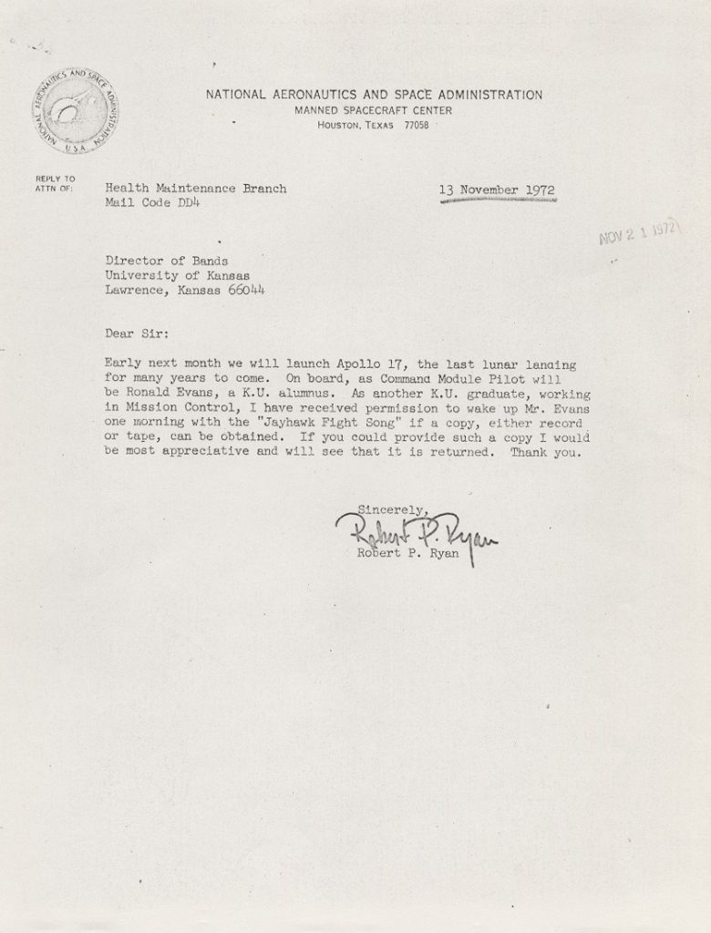 A letter from Robert P. Ryan to Robert E. Foster, 1972
