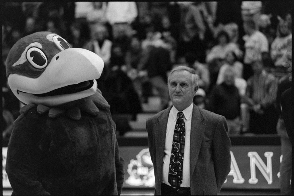 Photograph of Max Falkenstien with Big Jay, 1996