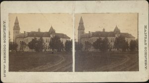 Stereoview of the Agricultural College, published by L. A. Ramsour in Manhattan.