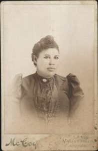 Unidentified woman, possibly from Valley Falls. Photographer McCoy from Valley Falls, Kansas.