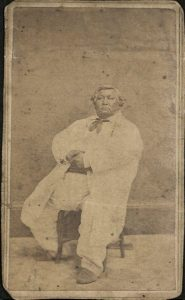 Carte de visite of Pottawatomie Chief Abram Burnett of Topeka. The photographers are Bliss & Wentworth of Topeka. Dated approximately 1869.