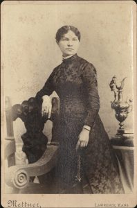 Cabinet card of Hannah Oliver.  Photographer Mettner of Lawrence, Kansas.