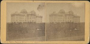 Stereoview card of Old Fraser Hall, published by W. H. Lamon, of Lawrence, dated 1884.