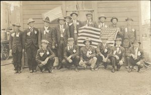 Postcard of Holyrood men before leaving for Camp Funston.