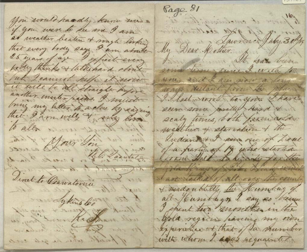 Image of a letter from William Clarke Quantrill to his mother Caroline, July 30, 1859