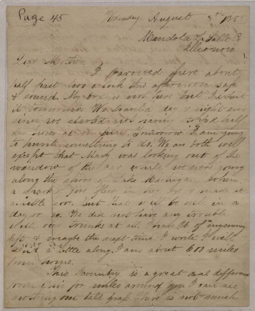 Image of a letter from William Clarke Quantrill to his mother Caroline, August 8, 1855