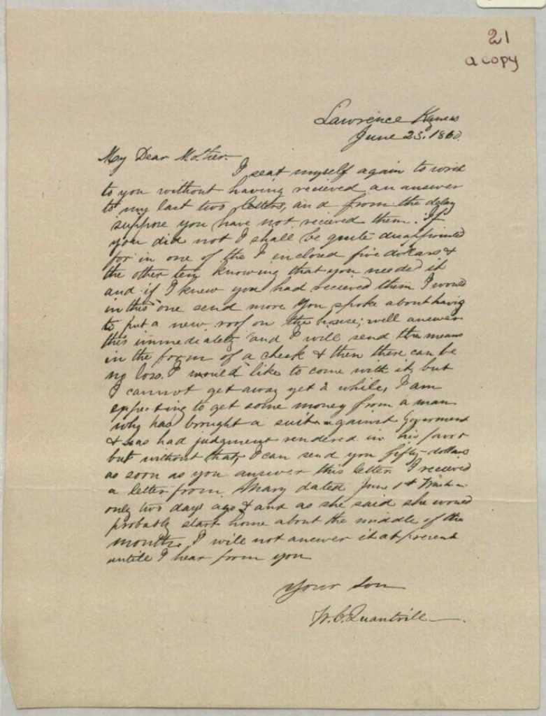 Image of a letter from William Clarke Quantrill to his mother Caroline, June 23, 1860