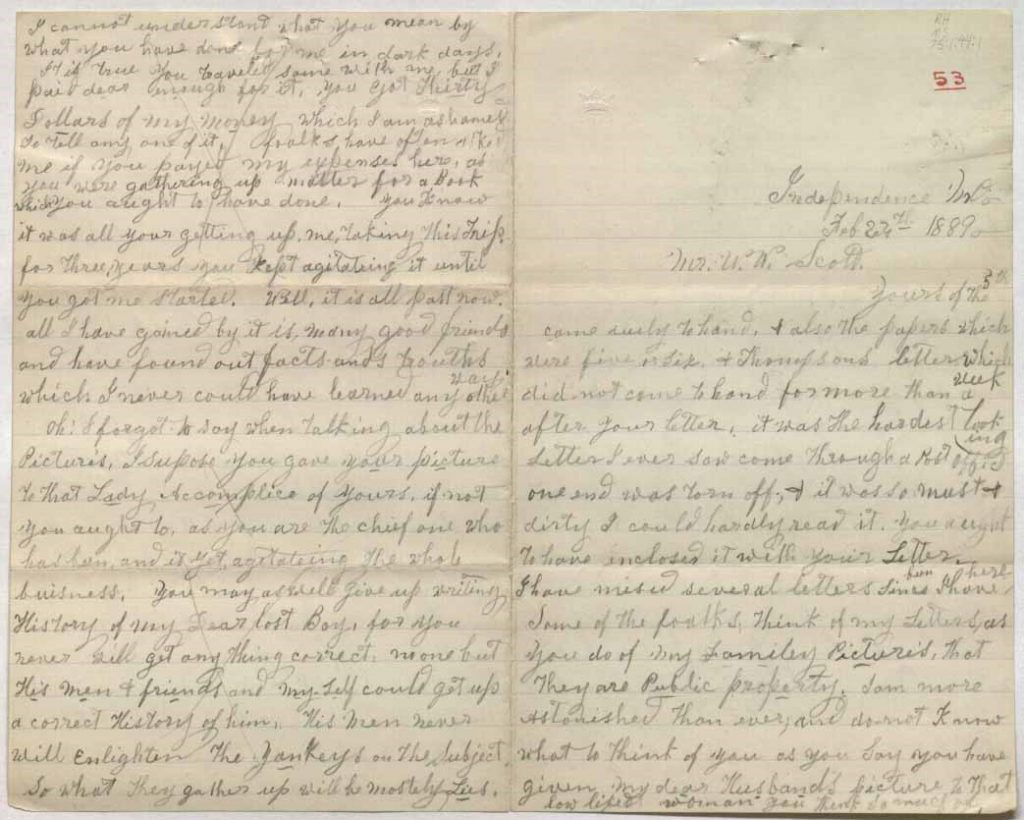 Image of a letter from Caroline Clarke Quantrill to W.W. Scott, February 24, 1889