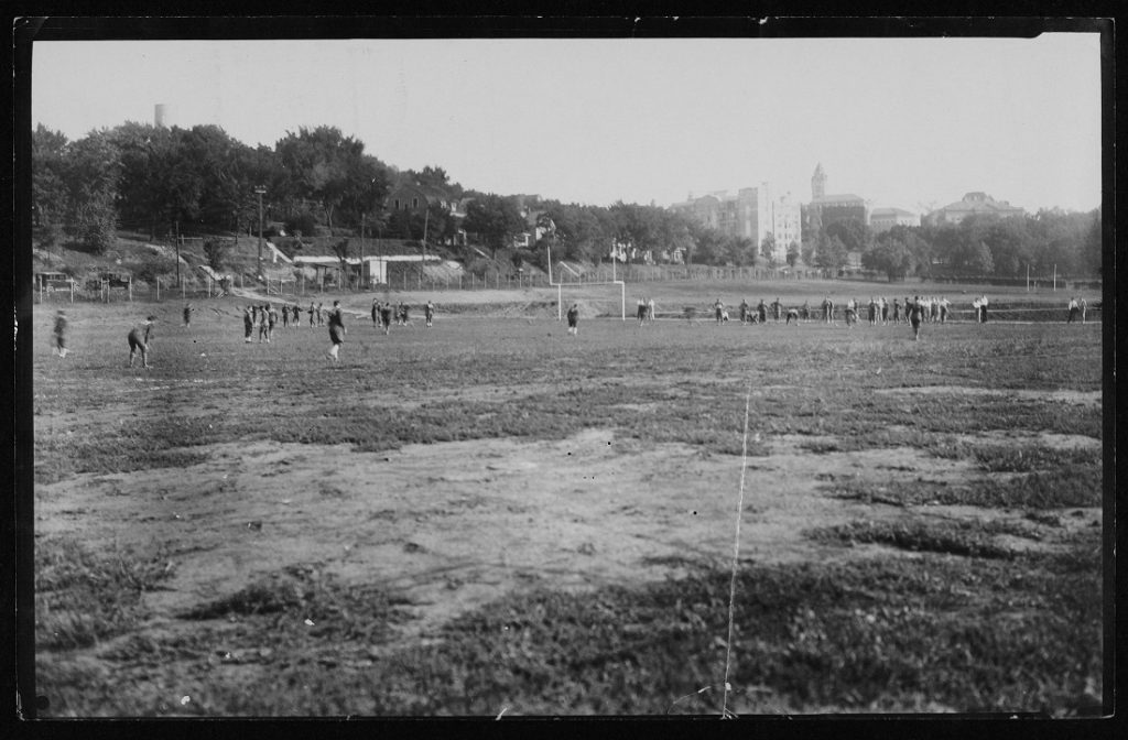 Photograph of a University of Kansas football practice, 1930s