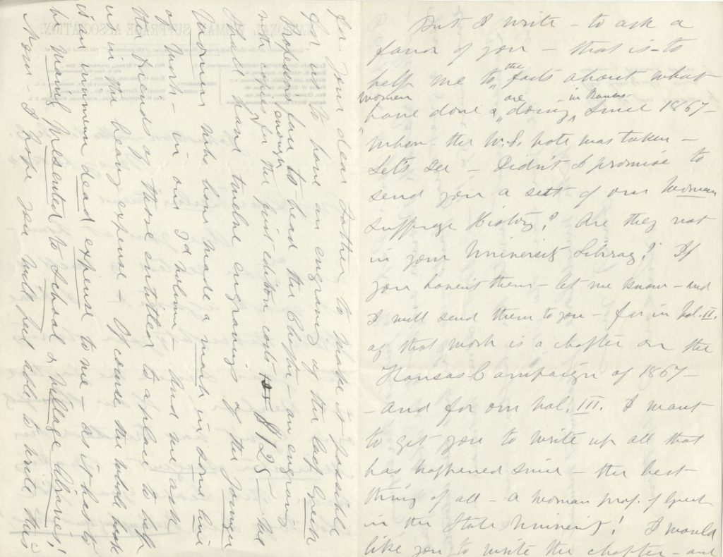 Image of a letter from Susan B. Anthony to Kate Stephens, May 12, 1884