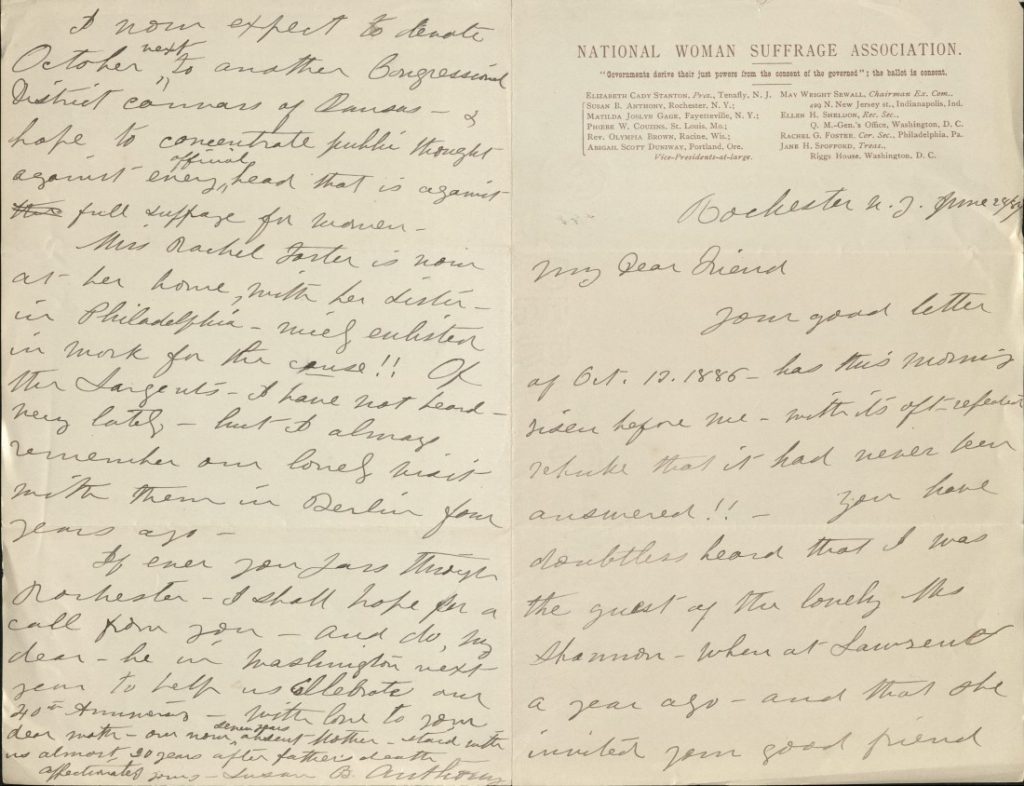 Image of a letter from Susan B. Anthony to Kate Stephens, June 28, 1887