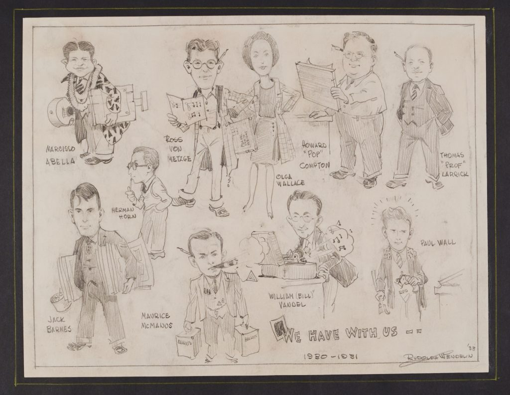 Drawing of individuals in School of Architecture and Architectural Engineering in 1930-1931