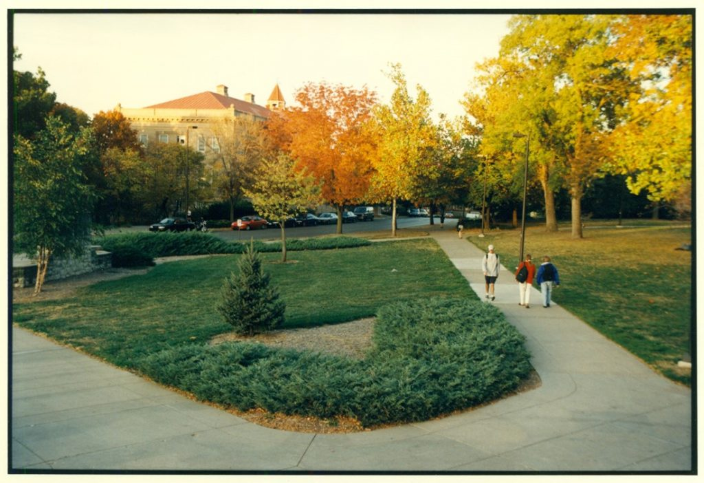 Photograph of the KU campus during the fall, 1995