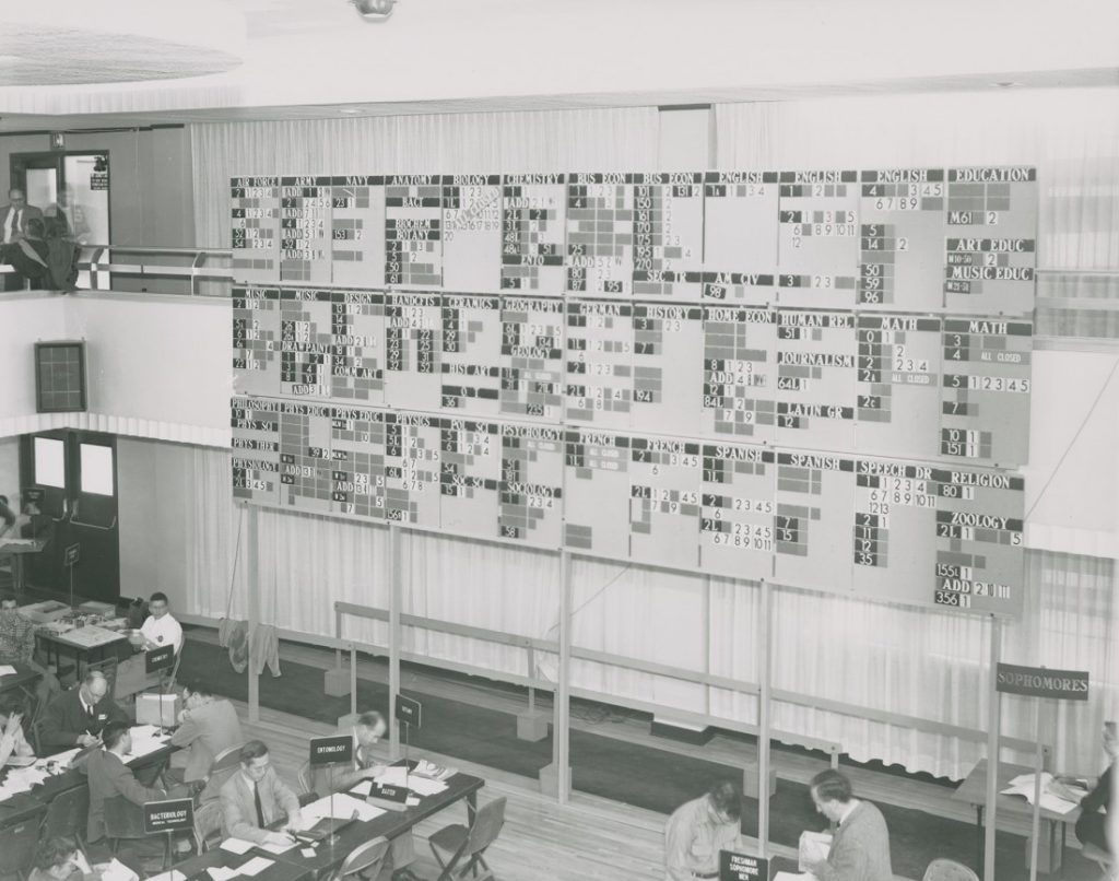 "Photograph of the ""enrollment bullpen,"" 1950s"