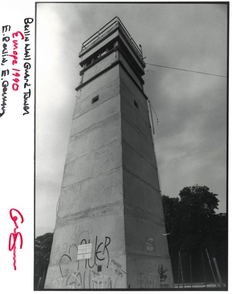 "Photograph entitled ""Berlin Wall Guard Tower,"" 1990"