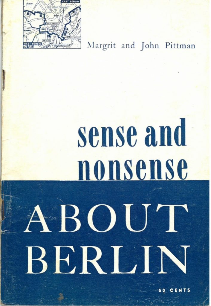 "Image of ""Sense and Nonsense About Berlin"" by Margrit and John Pittman, 1962"