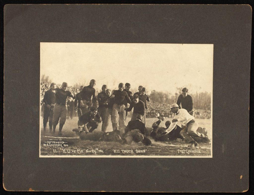 Photograph of a KU touchdown during a football game against the University of Missouri, 1910