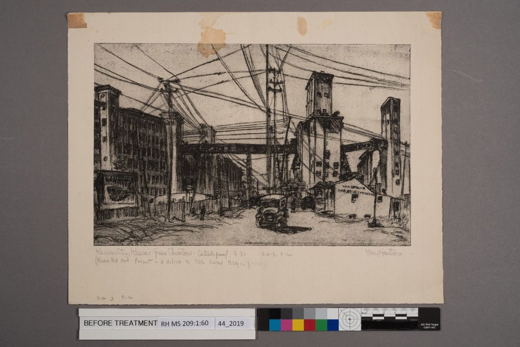 "The Mary Huntoon print, ""Kansas City, Kansas Grain Elevators,"" prior to treatment."