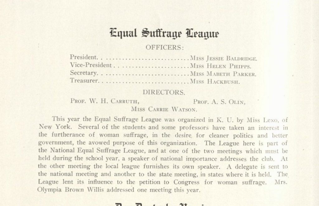 Information about KU's chapter of the College Equal Suffrage League in the Jayhawker yearbook, 1909